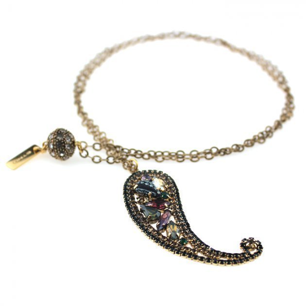 NECKLACE WITH STRASS PAISLEY PENDANT