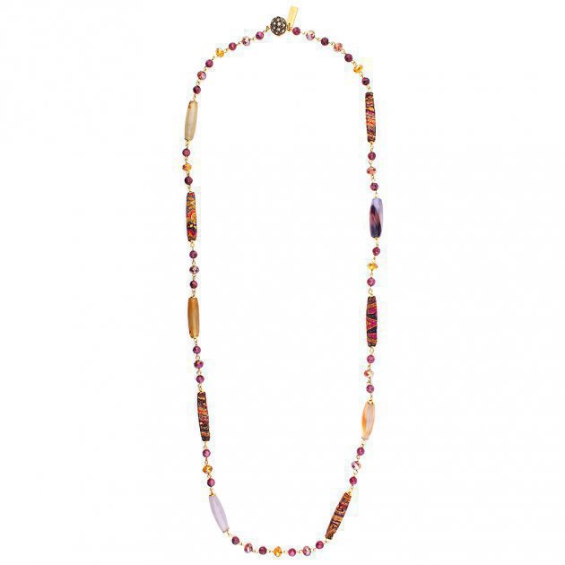 LONG SILKCOATED TUBES NECKLACE