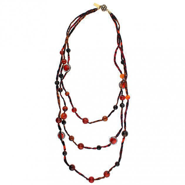 SILK MULTILINES NECKLACE WITH JEWELERY BUTTONS