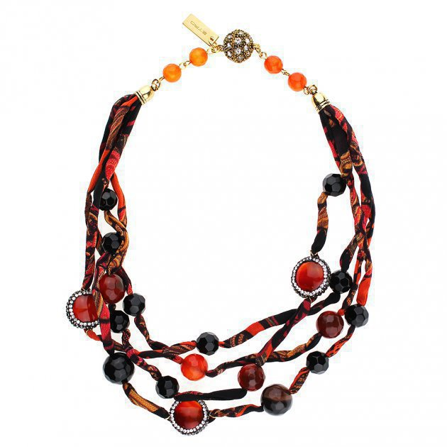 Silk Multilines Choker with Jewelery Buttons