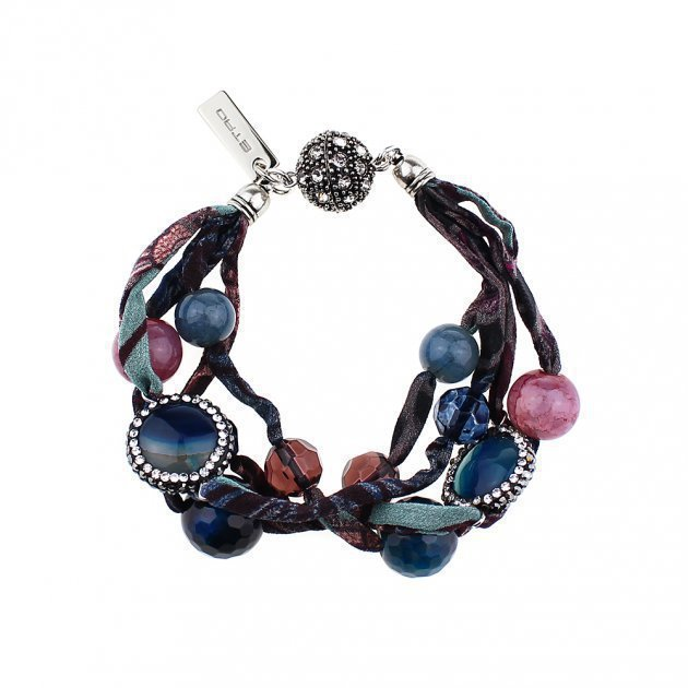 SILK MULTILINES BRACELET WITH JEWELERY BUTTONS