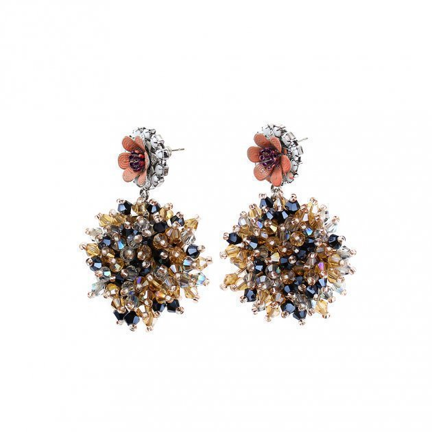 Beaded Botton Earring