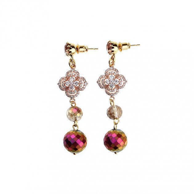 Pendant Earring with Boules and Strass