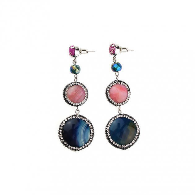Earring with Double Jewel Button