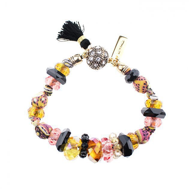 Bracelet Micro Silk Beads with Colored Tassels