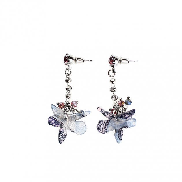 Litte Chain Earring With Orchid