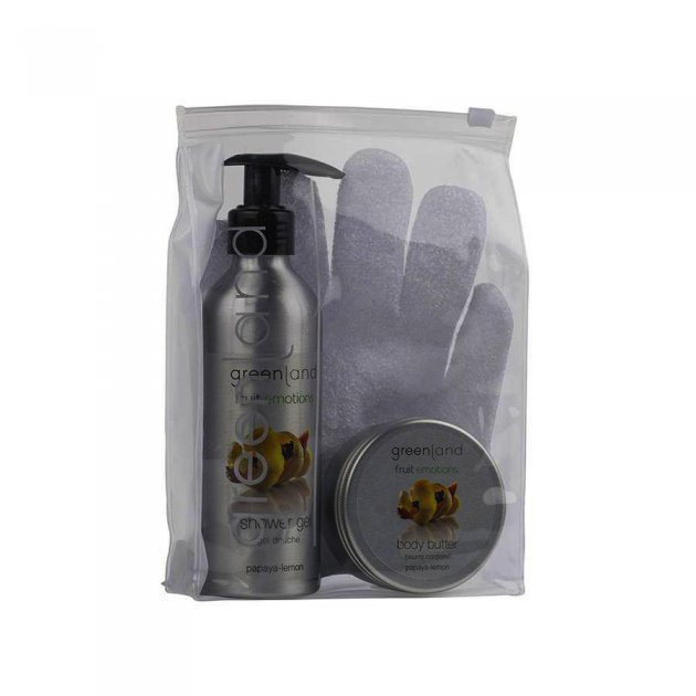 Giftset scrub glove papaya-lemon