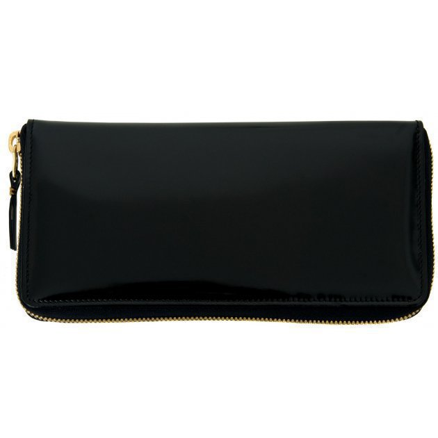 Glossy Black Leather Wallet Pink