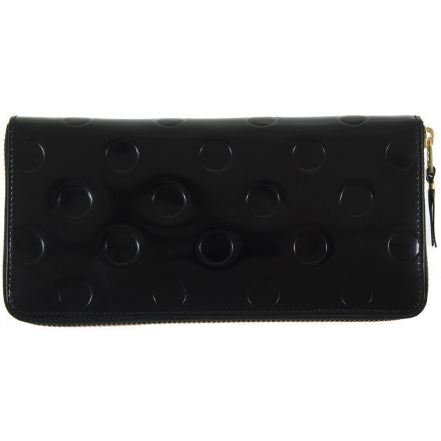 Leather Wallet Polka Dots Embossed Black