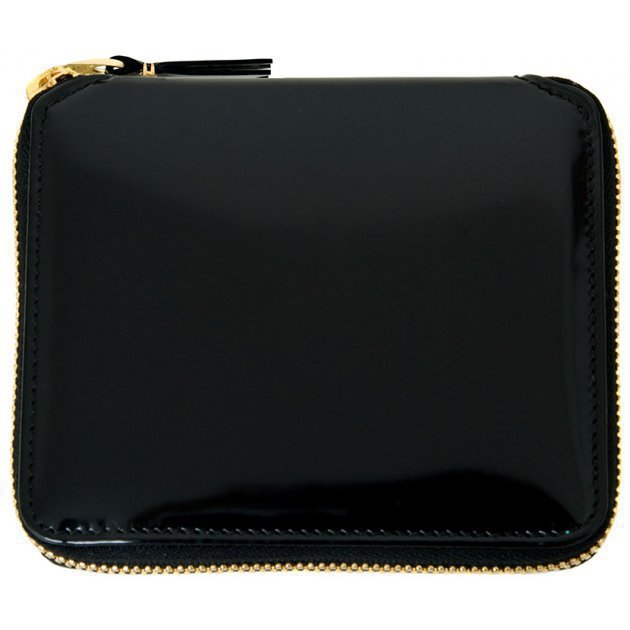 Glossy Black Leather Wallet Blue