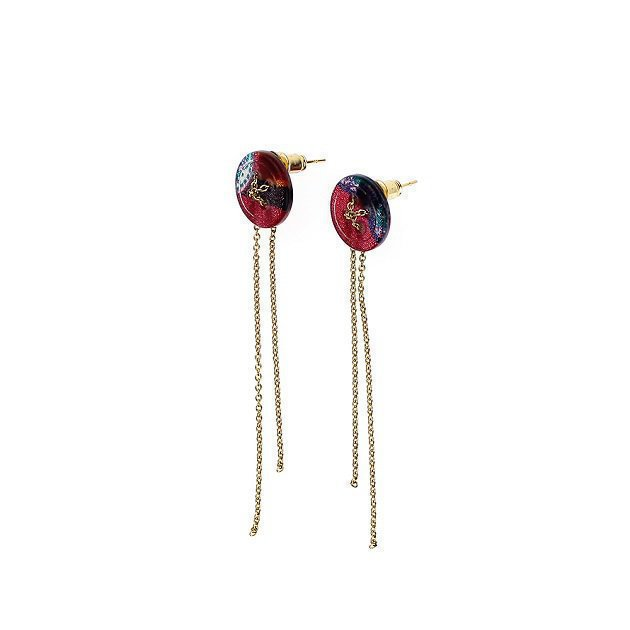 Small Button Earring With Fringe