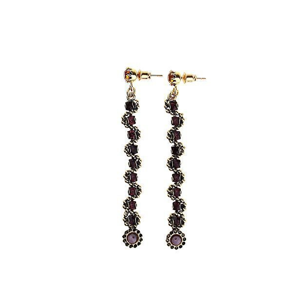 Thin Chain Earring with Small Flowers