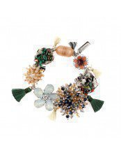 Bracelet Mix of Flowers Strass and Silk