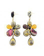 Earring with Flowers and Cabochon